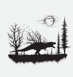 Dinosaur t-rex in strange forest vector
