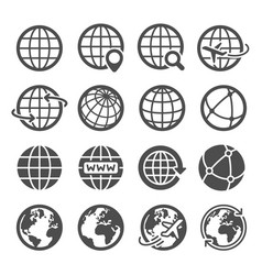 earth globe icons worldwide map spherical planet vector image