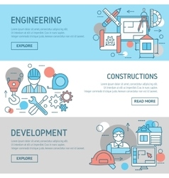 Engineering And Constructions Banners Set vector