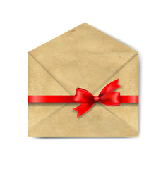 envelop with red bow isolated vector image