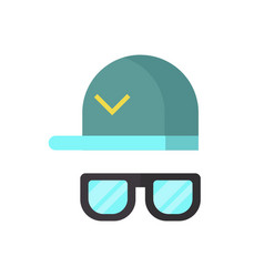 fashion glasses and cool hat vector image