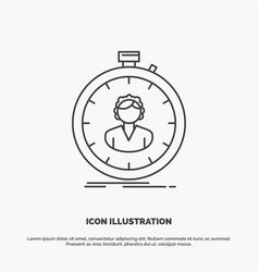 Fast speed stopwatch timer girl icon line gray vector