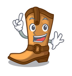 finger leather cowboy boots shape cartoon funny vector image