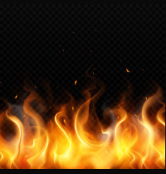 Fire flame realistic background vector