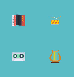 flat icons tape lyre tambourine and other vector image