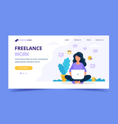 freelance work landing page template woman vector image