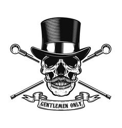 Gentlemen only human skull in vintage hat with vector