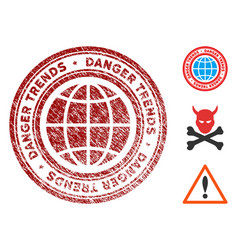 Global danger trends stamp with dirty texture vector