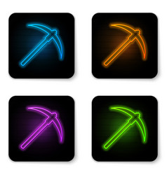 glowing neon pickaxe icon isolated on white vector image
