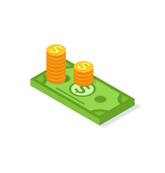 golden coins stacks and dollar bill sign isolated vector image