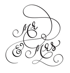 Hand drawn calligraphy mr and mrs text lettering vector