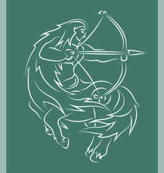 Hand drawn line art with sagittarius silhouette vector