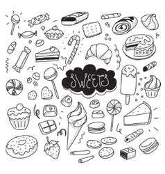 Hand drawn sweets and candies set doodles vector