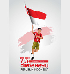 Happy independence day indonesia man vector