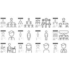 Human resources line icon set vector