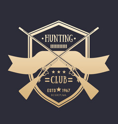 Hunting club vintage logo with two crossed rifles vector