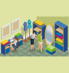 Isometric fashion atelier template vector