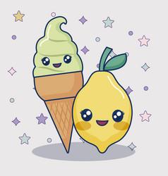 kawaii ice cream and lemon vector image