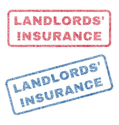 Landlords insurance textile stamps vector
