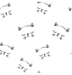 line art graphic sleeping cat head seamless vector image