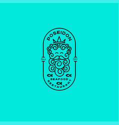 Logo poseidon seafood restaurant emblem vector
