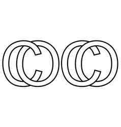 Logo sign oc co icon sign two interlaced letters o vector