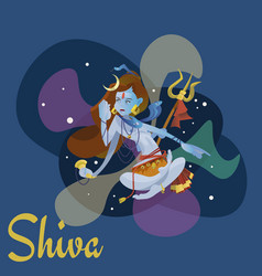 lord shiva indian god in the lotus position and vector image