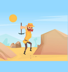 Man archaeologist scientist character working vector