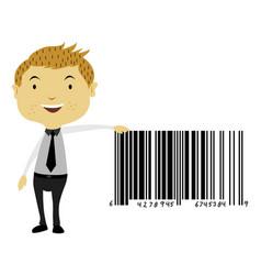 Man beside a giant barcode symbol vector