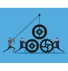 men business cooperation gears team work vector image