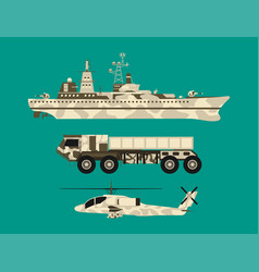 military army transport technic war tanks vector image