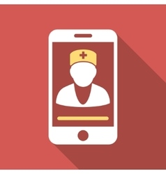 Mobile Doctor Flat Square Icon with Long Shadow vector image