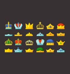 monarch symbols golden diadems and luxury crowns vector image