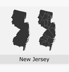 New jersey map counties outline vector