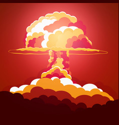 Nuclear explosion cartoon retro poster mushroom vector