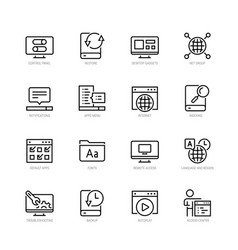 Operating system icon set in thin line style vector