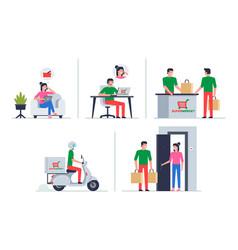 Order food from supermarket online vector