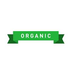 Organic green ribbon badge design element for vector