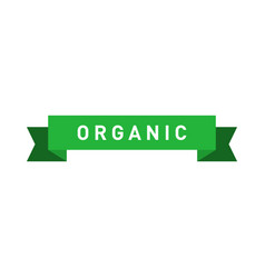 organic green ribbon badge design element vector image