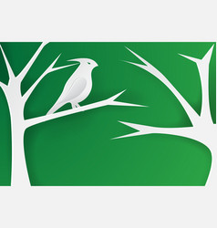 paper art of birds on the vector image