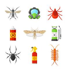 Pest control cartoon flat set vector