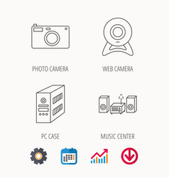 Photo camera pc case and music center icons vector