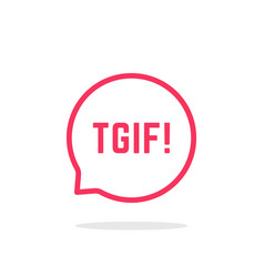 pink thin line tgif logo like speech bubble vector image