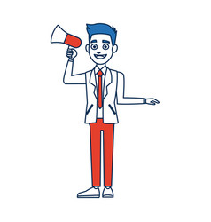 Politician man holding speaker in election vector