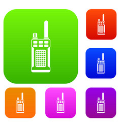 Portable handheld radio set collection vector