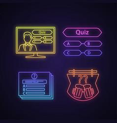 Quiz show neon light icons set vector