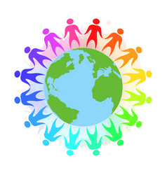 Rainbow people holding hands around the planet e vector