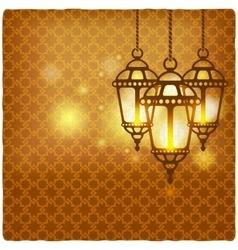 Ramadan kareem golden background with shining vector