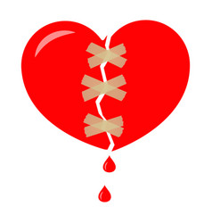 red broken heart wrapped with tape sticky vector image