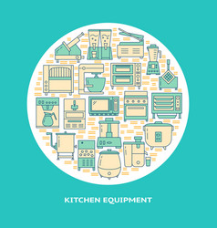 Restaurant equipment round concept banner in line vector